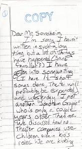 Letter to Sondheim 1991