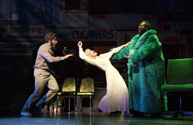 Jake Gyllenhaal, Ellen Greene, and Eddie Cooper in Little Shop of Horrors. Photo: Joan Marcus